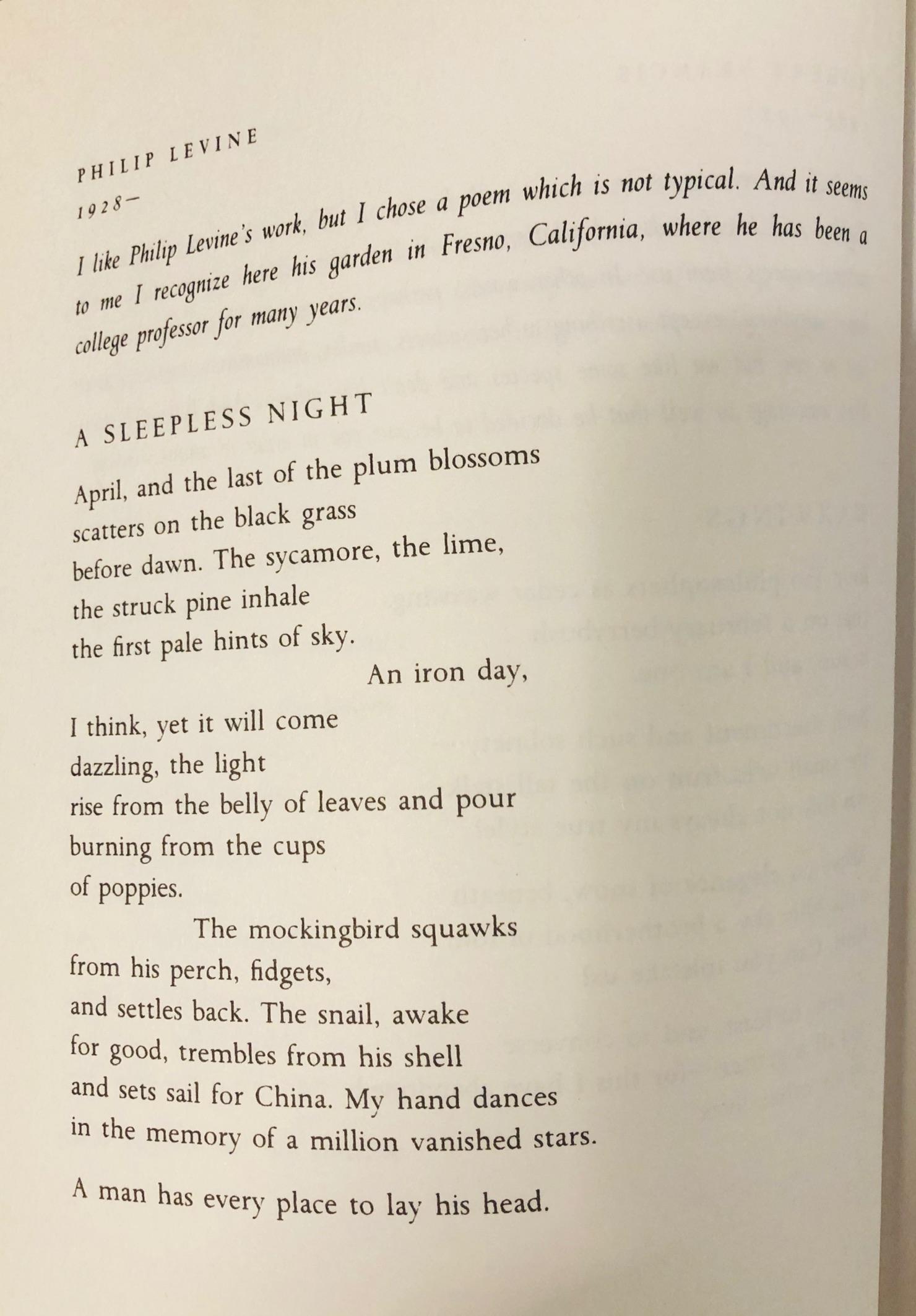 Lyric Companions Philip Levine A Sleepless Night Lyric Investigations